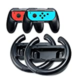 Lammcou Volante Control Grips para Switch para Minecraft Super Smash Bros Fortnite Mario Kart 8 Deluxe Gear Club Unlimited To Win Team Sonic Racing Pokken Pokémon Juegos NS Switch (4 Paquetes,Negro)