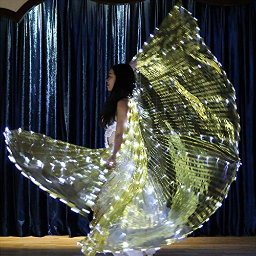 ng Fairy Wing Glow Light Rods-Wings 316 LED Luminous Up Stage Performance Eröffnung für Tanzbedarf Requisiten Maskeradekarneval,Gold ()