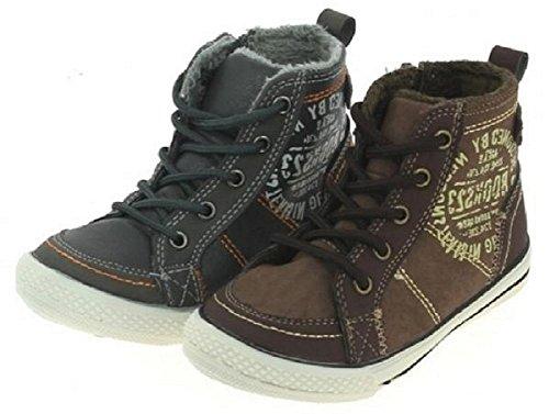 Modische Kinder Sneaker Turnschuhe, Knöchelstiefel mit Reißverschluss seitlich und vorne mit Schnürung, leicht gefüttert braun, grau, Größe 25-30 Braun