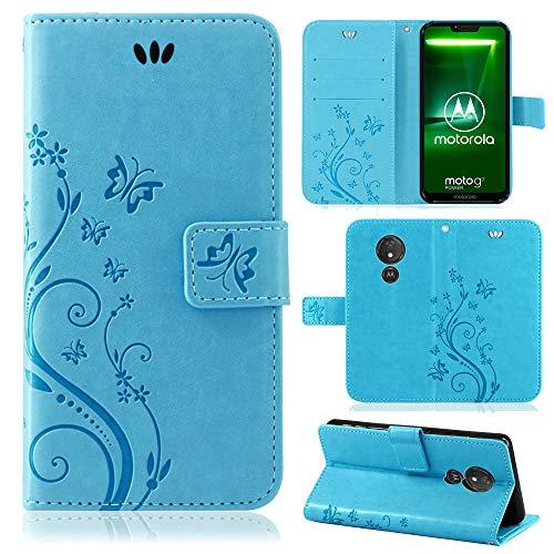 betterfon | Motorola Moto G7 Power Hülle Flower Case Handytasche Schutzhülle Blumen Klapptasche Handyhülle Handy Schale für Motorola Moto G7 Power Blau