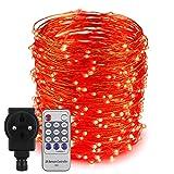 Erchen Strom-betrieben LED Lichterkette, 165 FT 500 LED 50M Stecker dimmbare Kupfer Draht Lichterketten mit 12V DC Adapter Fernbedienung für Innen Außen Weihnachten Party (Rot)