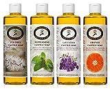 Carolina Castile Soap El jabón - Variedad de 4 Pack - (Menta y Lavanda Naranja Limón) 16 onzas Botellas