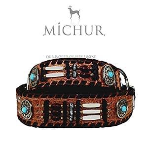 Carlota - Collier pour chien en cuir style indien avec pierres turquoises, marron, différentes tailles