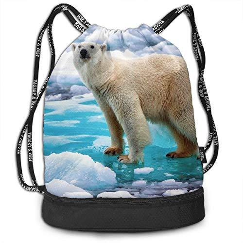 Rucksäcke,Sporttaschen,Turnbeutel,Daypacks, Drawstring Backpack Bundle Gym Bike Duffel Bag Knapsack Fashion Waterproof Sport Bag for Men Woman School Travel Polar Bear Ice Print Pack - Womens Polar Bear