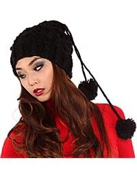 Young Fashion 3in1 Strickmütze mit Bommeln Mütze Schal oder Haarband