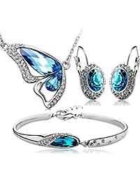 Crunchy Fashion Jewellery Set for Girls (Blue) (CFS0163_$)