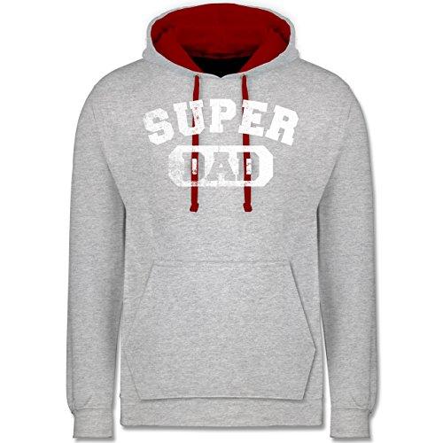 Vatertag - Super Dad - Vintage-&Collegestil - Kontrast Hoodie Grau Meliert /Rot