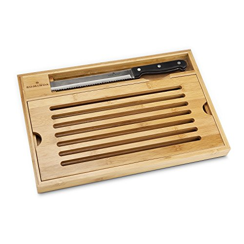 Geschenkbox Brot-Schneidebrett mit Krümelfach und Brotmesser aus Edelstahl und Bambus-Holz