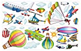 dekodino Wandtattoo Flugzeuge, Helikopter und Heißluftballons Wanddeko