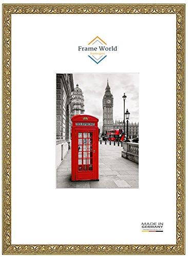 FW30 Echtholz Bilderrahmen DIN A4 für 21 cm x 29,7 cm Bilder, Farbe: Alt Gold Relief, inkl. entspiegeltem Acrylglas (Antireflex), Rahmen Breite: 30 mm, Aussenmaß: 25,6 cm x 34,3 cm