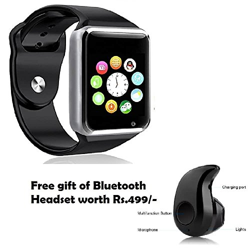Macberry Micromax Canvas Play 4G Compatible Smart Watch With Sim Card Slot And NFC Watch Phone Remote Camera + S530 Bluetooth Headset ( Random Color)
