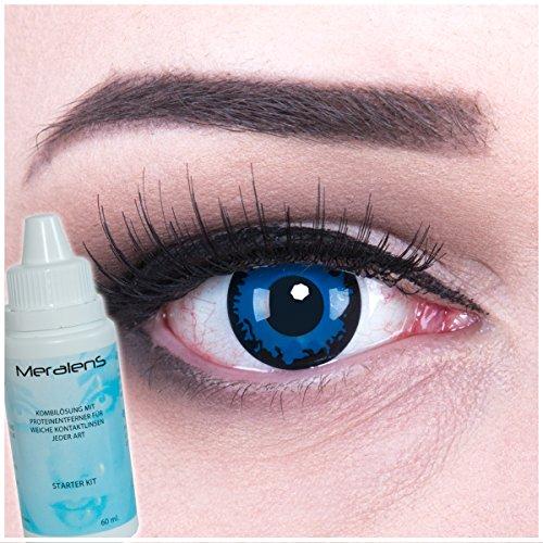 Farbige Kontaktlinsen Dark Blue blau dunkelblau + 60ml Pflegemittel + Behälter - Funnylens Markenqualität, 1Paar (2 Stück) farbige lenses perfekt zu Halloween, Karneval, Fasching oder Fastnacht