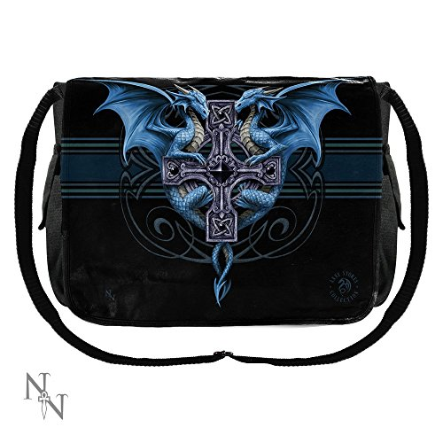 Dragon Duo - Blue Dragon Messenger Messenger Bag Negro - Fantasía - Nemesis Now