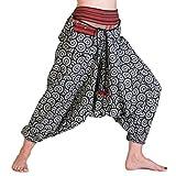 PANASIAM© Aladin Pants, aus naturbelassener Cotone, Lavorato a Mano, Si inserisce la S L Cerchio Taglia Unica