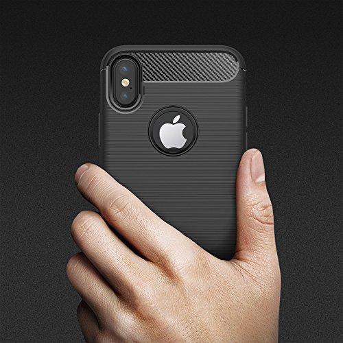 iPhone x custodia con pellicola protettiva, Nxet® Premium in fibra di carbonio antiurto in gomma morbida TPU custodia cover con [schermo in vetro temperato] per Apple iPhone x rosso Red Red