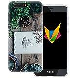 dessana Frühling transparente Silikon TPU Schutzhülle 0,7mm dünne Handy Soft Case für Huawei Honor 8 Schmetterling Garten