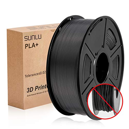 3D Printer Filament PLA+,PLA+ Filament 1.75 mm SUNLU,Low Odor Dimensional Accuracy +/- 0.02 mm 3D Printing Filament,2.2 LBS (1KG) Spool 3D Printer Filament for 3D Printers & 3D Pens,Black