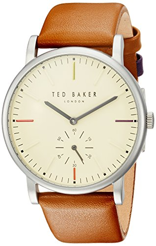 Ted Baker Men's 'NOLAN' Quartz Stainless Steel and Leather Casual Watch, Color:Brown (Model: TE50072002)