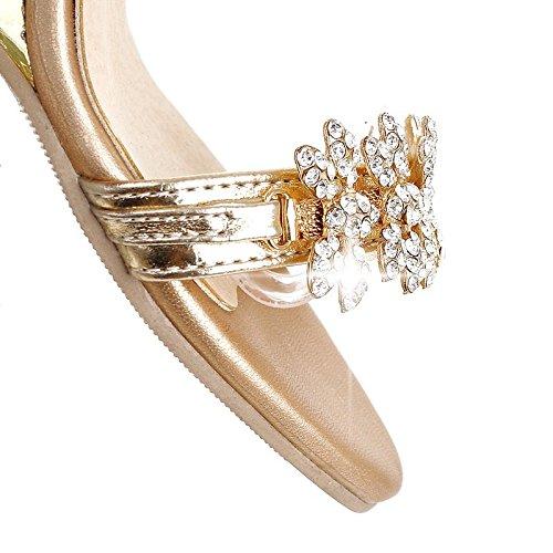 YE Damen Offener Open Toe 8cm Heels Wedges Keilabsatz Knöchelriemchen Kristall Sommer Sandalen Schuhe Mit Strass Gold