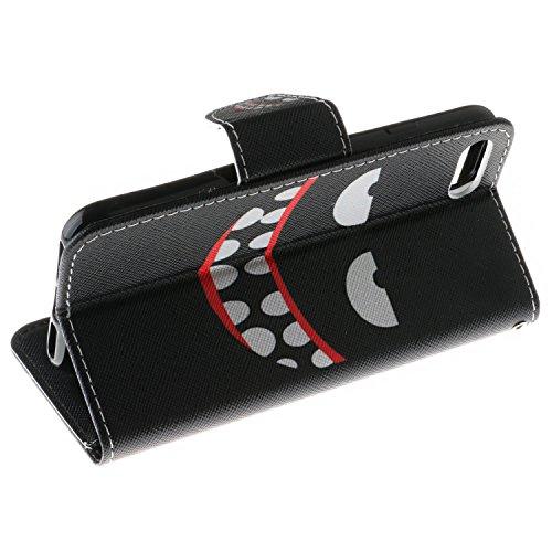 iPhone 7 Custodia, SsHhUu Lusso Stylish MagneticoStand Card Slot PU Leather Flip Protettivo Portafoglio Slim Cover Case + Stylus Pen per Apple iPhone 7 / iPhone 8 4.7 sorriso maligno