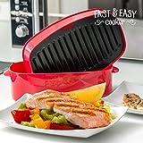 Appetitissime - Grill per microonde, mod. Fast Easy Cooker, colore: rosso, dimensione: 26,5x 8x 14,5cm