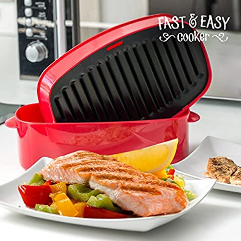 appetitissime Fast Easy Cooker Grill pour Four Micro-ondes, rouge, 26.5x 8x 14,5cm