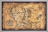 Herr der Ringe Poster Karte von Mittelerde (Dark) (96,5x66 cm) gerahmt in: Rahmen silber
