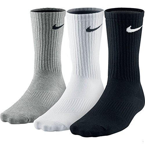 Nike Unisex Trainingssocken 3 Paar Lightweight Crew, Mehrfarbig (Grey Heather/White/Black), Gr. 46-50(Herstellergröße:XL) (Packs 3pr)
