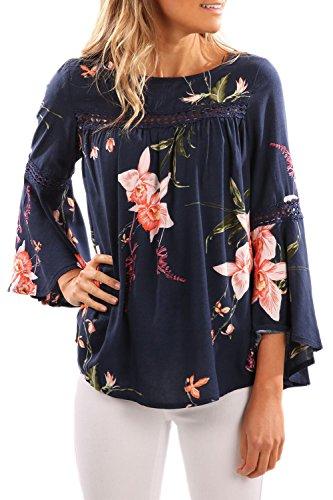 Frauen Locker Blumenmustern Hebt Patchwork - 3/4 - Bell - Ärmel Top - T Shirt Bluse Blue L