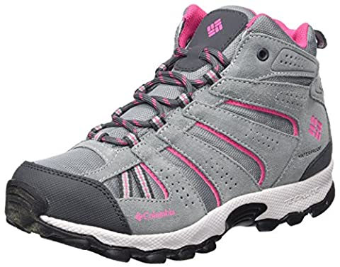 Columbia Mädchen Youth North Plains Mid Waterproof Trekking-& Wanderhalbschuhe, Grau (Grey Ash/ Ultra Pink), 36 (Columbia Kinder Schuhe)