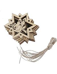 10pcs Estrellas De Corte Por Láser De Las Velas Adorno Etiqueta De Madera Con Una Cuerda