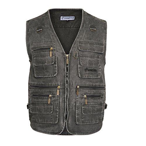Belloo Herren Outdoor Sport Weste mit 16 Taschen, Farbe Grau, Gr. 6XL(EU: ()