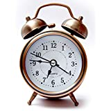 WOODSTER Analogue Vintage Look Twin Bell Table Alarm Wind-Up Clock with Night Led Light (Copper)
