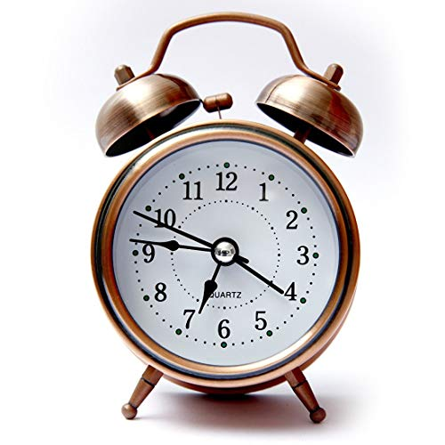 LOOKGOOD Analogue Vintage Look Twin Bell Table Alarm Wind-Up Clock with Night Led Light (Copper)
