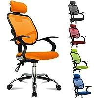 Femor sedia da ufficio girevole con rotelle, sedia con poggiatesta anti cervicale