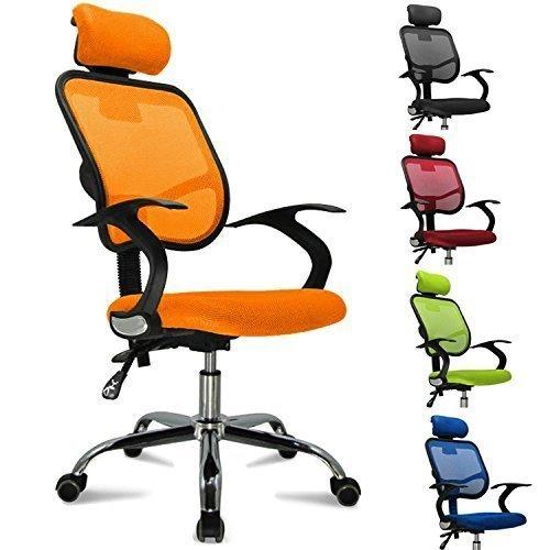 Femor sedia da ufficio girevole con rotelle, sedia con poggiatesta anti cervicale, schienale traspirante, sedia pieghevole regolabile, sedia ergonomica con braccioli (arancione)