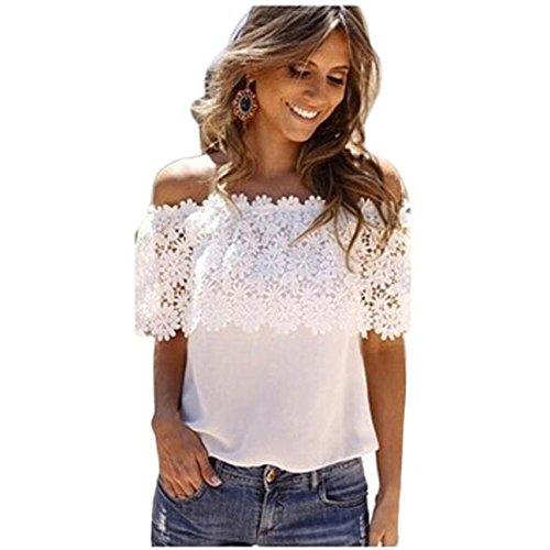 TWBB Oberteile Damen, Chiffon Spitze Nähen Blumen drucken Kurzarm T-Shirt (M, Weiß)