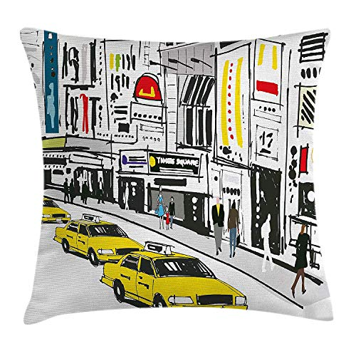 Yinorz Modern Throw Pillow Cushion Cover, Times Square New York with People in Street Taxi Cabs Traffic Fashion Illustration, Decorative Square Accent Pillow Case, 18 X 18 Inches, Multicolor