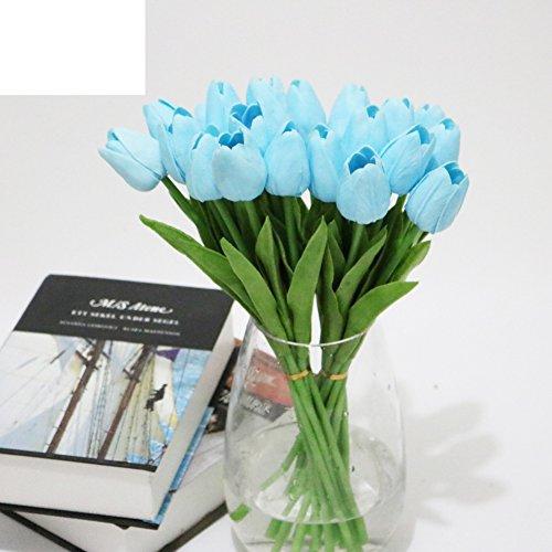 Swjfkdd fiori artificiali freschi,real cerca falso tulip,centrotavola mazzo partito decori matrimonio festivo,20 mazzi per confezione,34cm long,rosso-azzurro