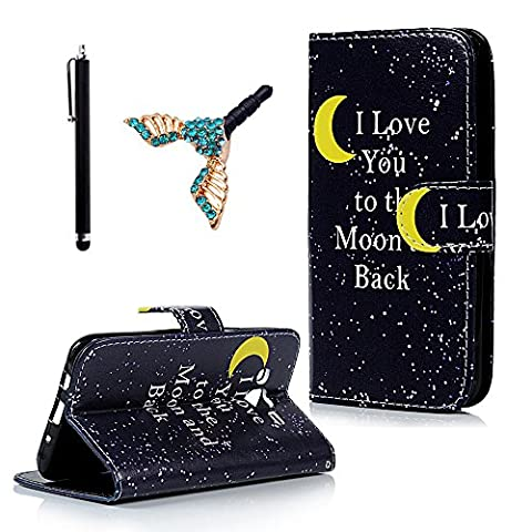 J5 Case, Flip Case for Samsung Galaxy J5 Case - LANVENI [NEW TYPE]Illustration Series Holster with Magnetic Button Elegant PU Leather Flip Wallet Case with Stand Protective Cover Moon +1x Stylus+1x Dust
