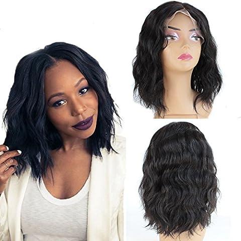 zanawigs Fashion Style de cheveux humains naturels non traités brésiliens vierges courtes perruque Lace Front Ondulée Noir Bob Perruques de cheveux de bébé