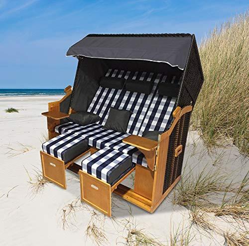 """Home>it® Premium Rattan Strandkorb \""""Ostsee-XXL\"""" 158 cm breit 3-Sitzer Vollieger"""