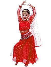 Astage Niñas Manga Larga De Danza Ropa Faldas Disfraz De Elegent Conjuntos Rojo L
