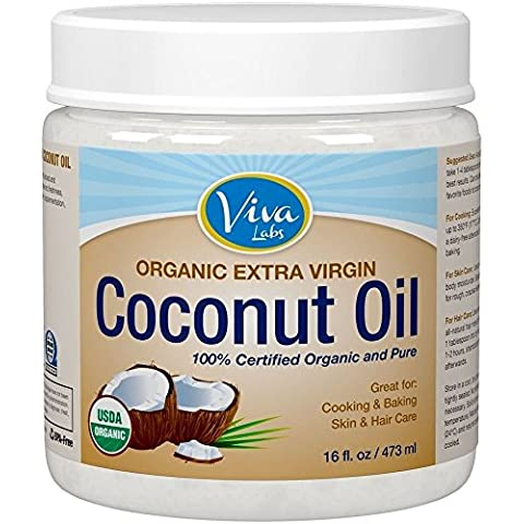 Organic Extra Virgin Coconut Oil 16 ft.0z / 473m., Unrefined Cold-Pressed Shipping from USA by Viva