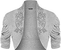 Ladies Ruched Shrug Womens Beaded Design Short Sleeve Bolero Cardigan Top Grey 12/14