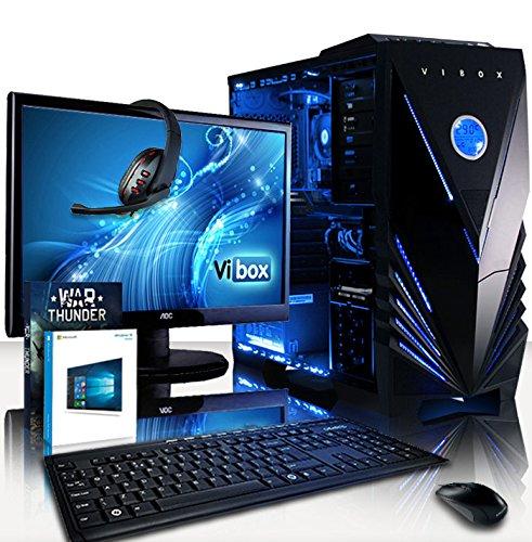 """Preisvergleich Produktbild VIBOX Advance Komplett-PC Paket 7 Gaming PC - 4, 2GHz AMD 8-Core Prozessor,  GTX 1050 Ti GPU,  Super,  Desktop Gamer Computer mit Spielgutschein,  22"""" HD Monitor,  Tastatur & Mouse Set (DE QWERTZ),  Windows 10,  Blau Innenbeleuchtung,  lebenslange Garantie* (3, 3GHz (4, 2GHz Turbo) Superschneller AMD FX 8300 Octa-Core Prozessor CPU,  Nvidia GeForce GTX 1050 Ti 4GB Grafikkarte GPU,  16GB DDR3 1600MHz RAM,  1TB (1000GB) SATA III HDD 7200rpm Festplatte,  85+ Netzteil,  Vibox blaues Gaming Gehäuse,  AM3+ Mainboard)"""