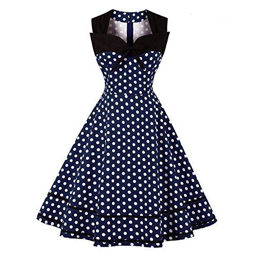 GLOGLOW Vestido de Mujer de Lunares, Cintura Alta, una línea de...