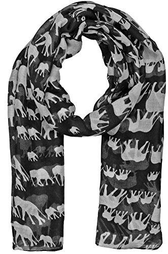 World of Schals Damen Elefant Druck Schal Wraps Schal Weich Schals Sarong, schwarz