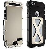 Alienwork Metal Gear Schutzhülle für iPhone 6 Plus/6s Plus Stoßfest Hülle Case Bumper Ständer Edelstahl silber AP6P12-02