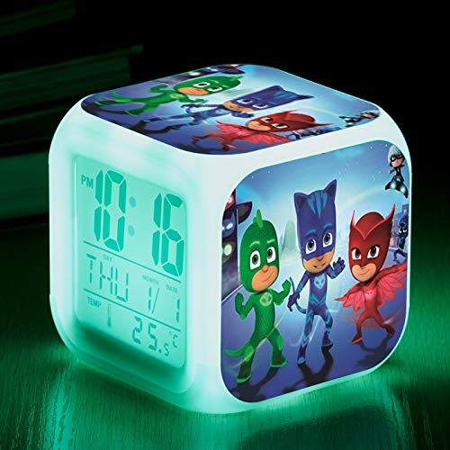 piaolinglifang store Maskierte Pyjamas bunten Wecker LED Vier-Farben-Wecker Kindergeschenke personalisierte kreative Multifunktionswecker